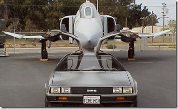 Fighter Jet and DeLorean - Southern California DeLorean Club