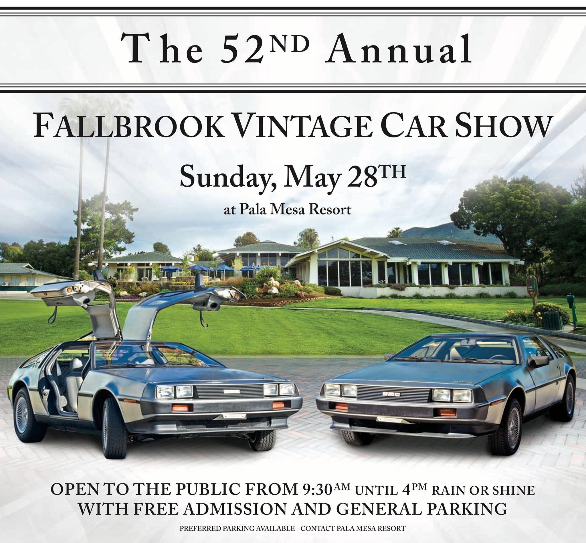 52nd Annual Fallbrook Vintage Car Show – DeLorean Club – Southern ...